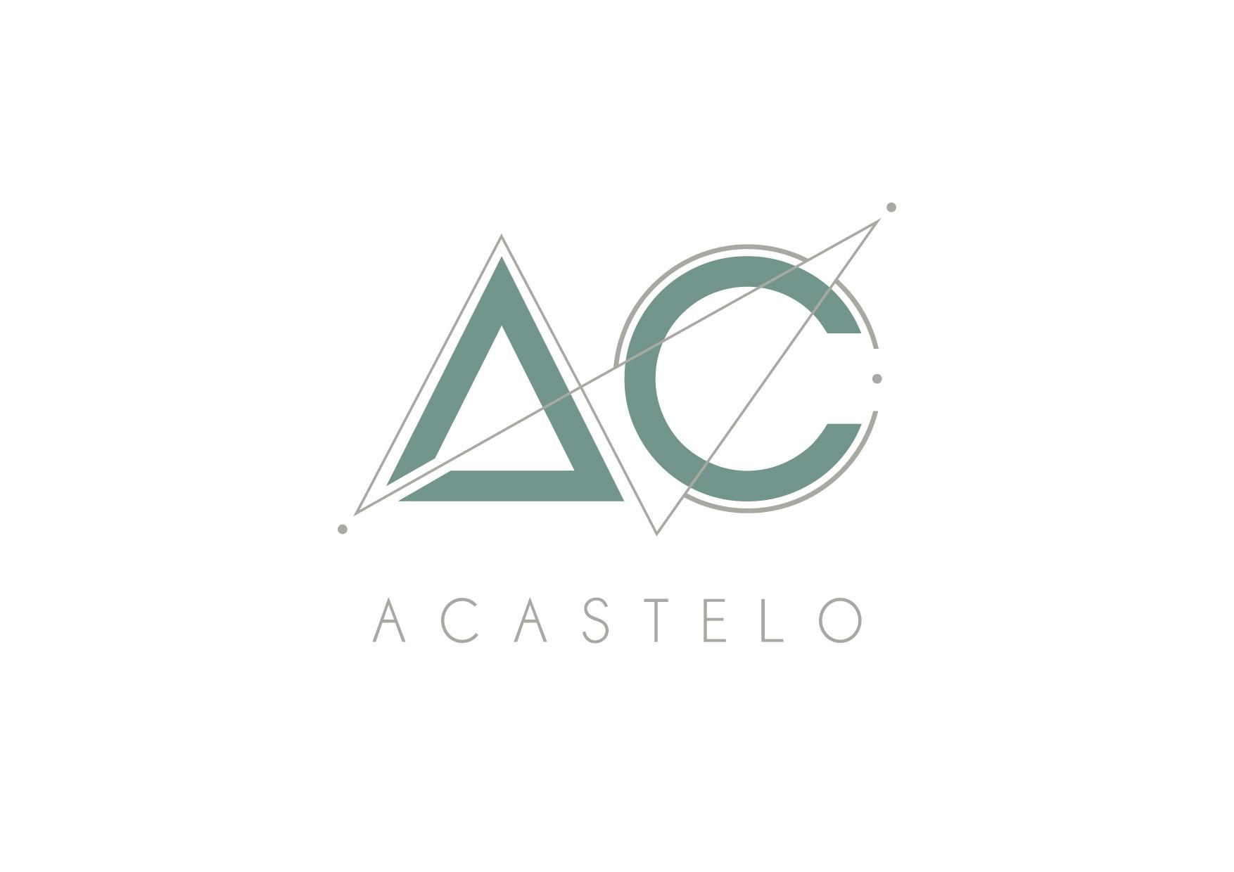 """Logo de A. Castelo con formas geométricas representando una letra """"A"""" y una """"C"""""""
